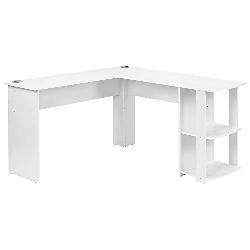 LKOER Escritorio de esquina en forma de L de MDF con 2 estantes, para oficina/hogar, escritorio ampliado, 140 x 50 x 75 y 140 x 40 x 75 cm (color blanco) (color madera)