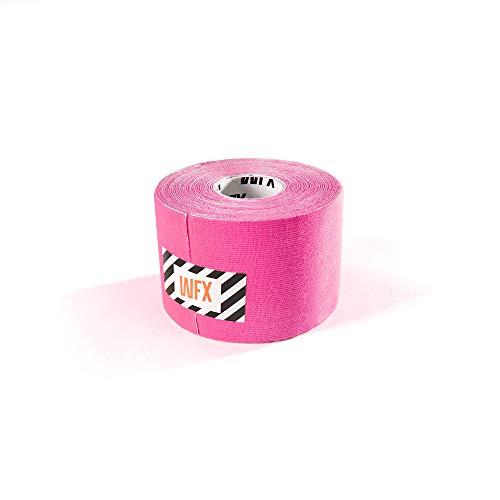 #DoYourFitness x World Fitness WFX 1x Kinesiologie Tape [5m x 2,5cm LxB] - Lange Tragezeit - elastische Bandage - Selbsklebend, 100% gewebte Baumwolle, Wasserresistent, Latexfrei - Pink
