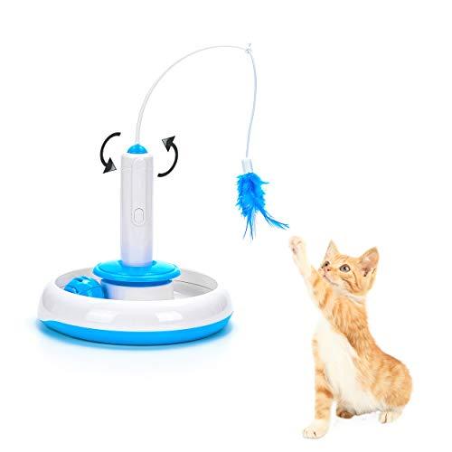 Vealind Interaktives Katzenspielzeug für den Innenbereich, 360 ° drehbar, mit Federn und Glockenball (Spielzeug)