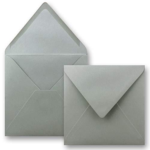 Quadratische Brief-Umschläge ohne Fenster in Graphit - Dunkelgrau - 50 Stück - 15,5 x 15,5 cm - Nassklebung - Für Hochzeits-Karten, Einladungskarten und mehr - Serie FarbenFroh®