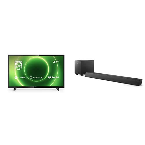 Philips 43PFS6805/12 43-Zoll Fernseher (Full HD LED TV, Pixel Plus HD, HDR 10, Saphi Smart TV, Ideal für Gaming) mit Soundbar B5305/12 inkl. Subwoofer (Bluetooth, 70 W) Schwarz