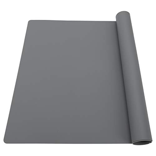 Extra Large Silicone Table Mat, Silicone Mat for Crafts Kids Dinner Placemat Desk Countertop Waterproof Protector Heat Insulation Kitchen Pastry Rolling Dough Pad (Dark Gray, 23.6''x15.75'')