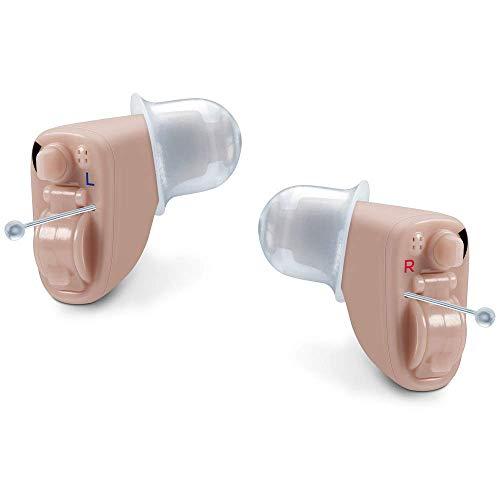 Beurer HA 60 Paar digitale Hörhilfe, kaum sichtbare Im-Ohr Bauform, im Raum und im Freien nutzbar, je 3 Aufsätze, ergonomische Passform, Aufbewahrungsbox, Trocknungskapseln