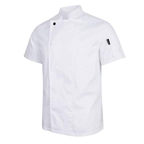 freneci Traje de Uniforme de Manga Corta de Chef Unisex, Chaqueta de Cocina, Abrigo, Ropa de Trabajo - Blanco, SG