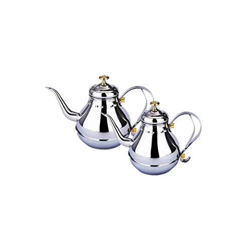 CHUJIAN Caldera de acero inoxidable, juego de té de cocina de inducción, tetera, tetera pequeña con colador, tetera de acero inoxidable con colador, olla de palacio, cocina de inducción, tetera, hotel