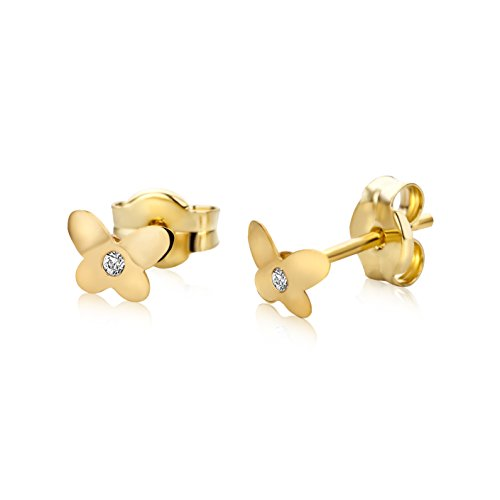 Miore Earrings for Kids studs with Butterfly   Yellow Gold 9 Kt / 375
