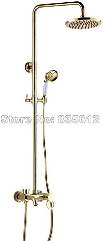 Luxurious shower Badezimmer 8 Dusche  Kopf einzigen Griff Regendusche Wasserhahn Set Gold Farbe Messing Wand montiert Badewanne Mischbatterie + Handbrause Wgf 414, Gelb
