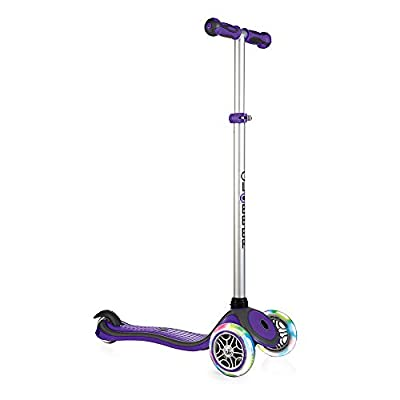 Globber V2 3-Wheel Kids Kick Scooter with LED Light Up Wheels and Adjustable Height and Comfortable Grips for Boys and Girls, Purple