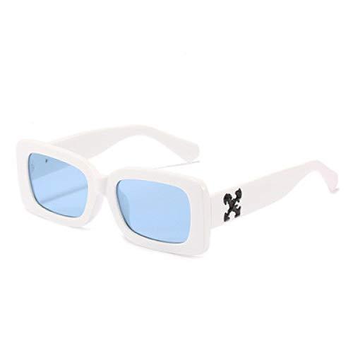 Gafas De Sol Gafas De Sol para Mujer, Gafas De Sol Retro, Gafas Cuadradas para Mujer, Hombre, Lujo, Uv400, Blanco, Azul