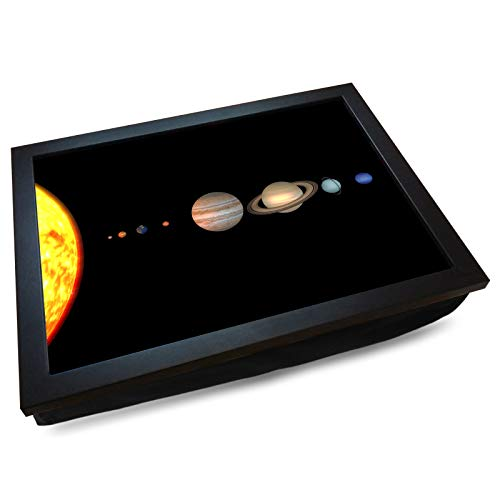 Deluxe Cushioned Lap Tray | Solar System | Wooden Frame | Bean Bag Cushion Base | #DI