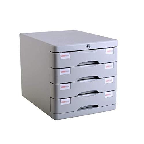 Preisvergleich Produktbild Aktenschränke,  Kunststoff kosmetische Schublade,  Schreibtisch Speichereinheit Organizer abschließbare Schublade Sorter A4 Box for Office (4-Ebenen-Größe: 11.3in * 14.6in * 11.4in) Home Office Möbel WK