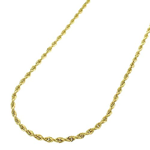 Verona Jewelers 14K Gold 1.5MM Diamond Cut Rope Chain Necklace for Men and Women- Braided Twist Chain Necklace 14K Necklace, 14k Rope Chain, 14K Gold Necklace 16-26 (18)