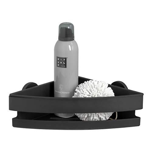 Tiger Noon Duschkorb, Premium-Duschablage aus Edelstahl, Eckversion, Farbe: Schwarz, mit herausnehmbaren Einsatz, B x H x T: 22 x 8 x 22 cm