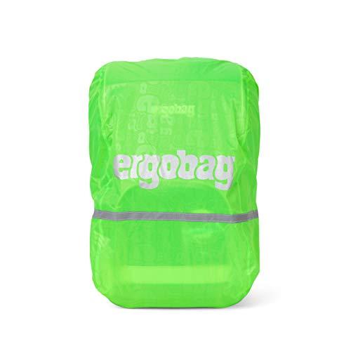 ergobag Regencape - für Schulrucksäcke, wasserdicht, Leuchtfarben, Reflektoren, Gummizug - Shiny Green - Grün
