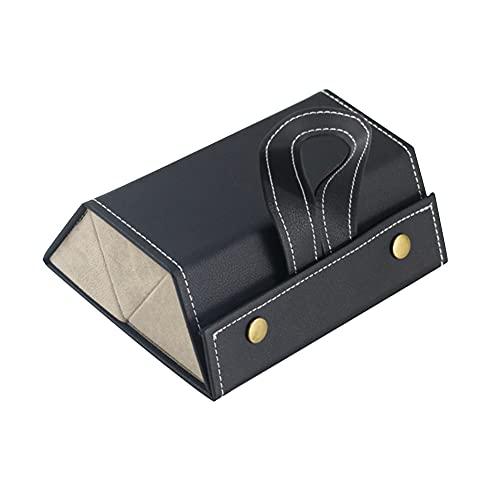 Caja de Gafas, Almacenamiento Gafas de 3 Ranuras, Caja de Almacenamiento de Viaje de Gafas de Sol, Plegable Caja de Anteojos Portátil, para Guardar y Exhibir Gafas de Sol, Negro y Marrón
