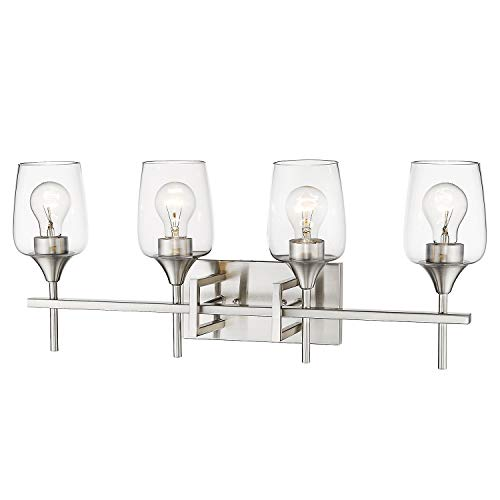 Zeyu 4-Light Vanity Light, 27 Inch Bathroom Vanity Sconce Wall Lamp, Brushed Nickel Finish with Clear Glass Shade, 8000-4 BN