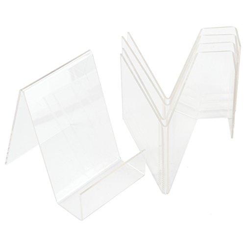 5x Acryl. Buchstütze Buchständer Warenstütze Warenträger Display Tischaufsteller Acrylaufsteller Prospektständer (S: 7,7x10x10cm)