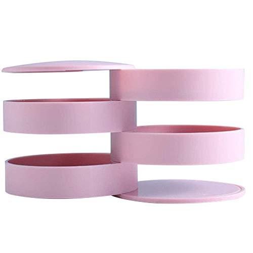 Joyero Giratorio de 360 Grados, Anillo, Pendientes, Collares, joyero para Mujer (Rosa)