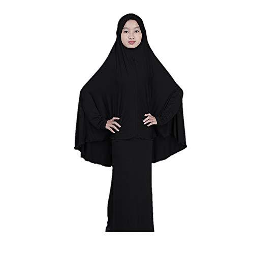 Hanomes Mädchen Langärmelige Robe Hijab mit Langarm Prinzessin Kleider Nahen Osten Kinder Traditionelle Kleidung Gebet Kleid Weich Lange Maxi Kleider Islamische Abayas