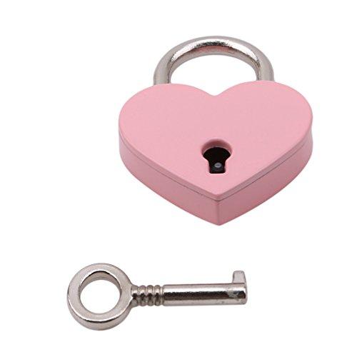 LJSLYJ Small Mini Vintage Metal Love Heart Shaped Padlock Luggage Padlock Mini Lock with Key Locks Set (Pink)