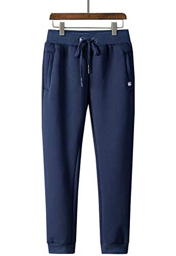 Flygo Mens Warm Fleece Pants Sherpa Lined Sweatpants Active Running Track Jogger Pants (X-Large, Navy)