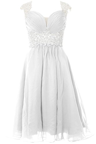 MACloth Women Cap Sleeve Lace Chiffon Short Prom Dress Wedding Party Formal Gown (48, White)