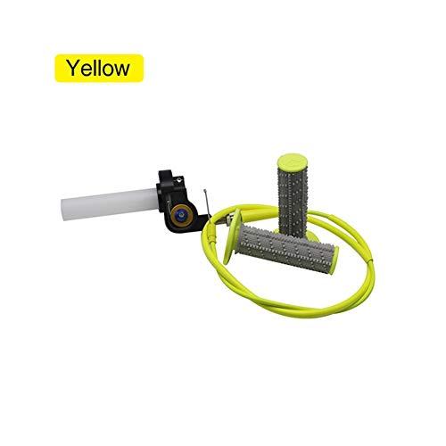 SSGLOVELIN Puño del Acelerador rápida Torsión Gas + Cable del Acelerador + empuñaduras en Forma for KAYO Apolo Bosuer Suciedad Bici del hoyo apretones Visuales (Color : Yellow)