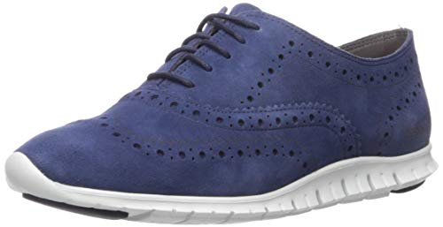 Cole Haan Women's Zerogrand Wing Oxford Closed Hole II, Blazer Blue Suede/White, 7.5 B US