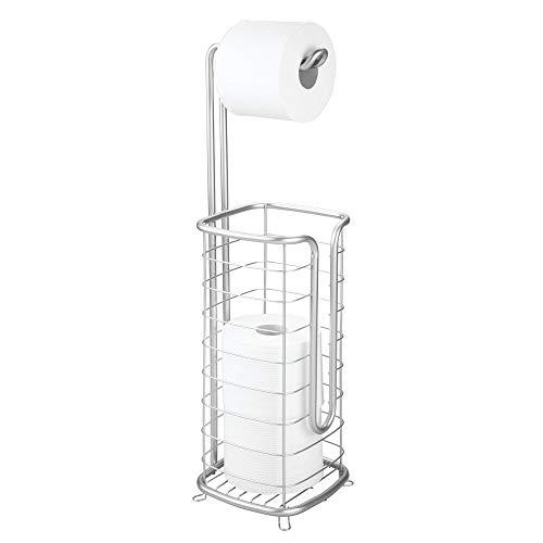 mDesign Toilettenpapierhalter ohne Bohren – freistehender Klorollenhalter fürs Badezimmer – rostbeständiger Papierrollenhalter für Vier Rollen – silberfarben
