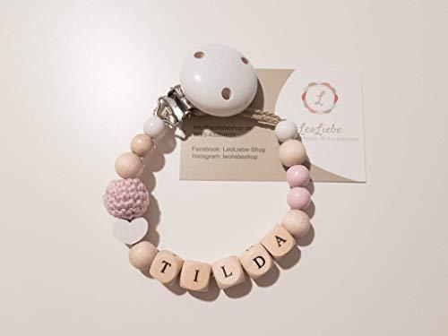Schnullerkette Mädchen mit Namen für Babys in zartrosa/rosa - speichelfest - personalisiert - Baby - Geschenk - Geburt - Holz - Schnuller - Herz - Stern