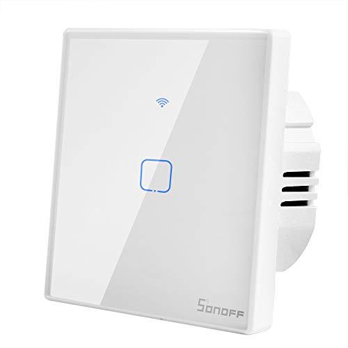 Sonoff T2 Interruptor Inalámbrico Inteligente 1 Canal Interruptor WIFI de Luz de Pared Control de APP, 433 RF y Voz Compatible con Alexa Echo, Google Assistente y IFTTT (Se Necesita Cable Neutro)