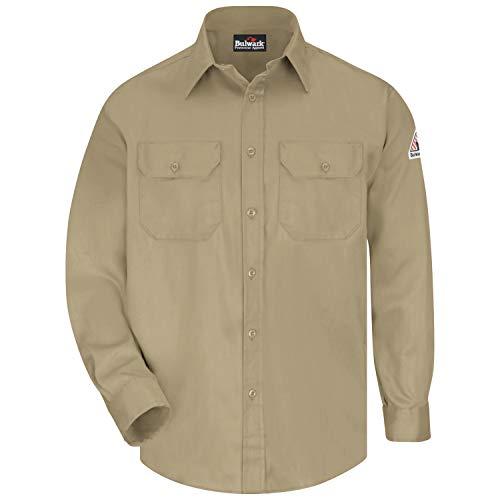 Bulwark Flame Resistant 6 oz Cotton/Nylon Excel FR ComforTouch Long Uniform Shirt with Straight Back Yoke, Topstitched Cuff, Khaki, 2X-Large
