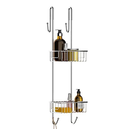 Bamodi Estantería de baño colgada Estantería de baño Ducha con Percha - Cómodo Organizador de Ducha Antideslizante (Acero inox, 70 x 18,5 x 19 cm)