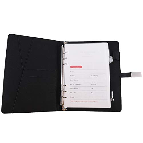 OVBBESS Cuaderno de Carga InaláMbrico Qi Power Bank Notebook Multifuncional 8000MAh Power Bank Binder Spiral Diary Book USB Flash Disk