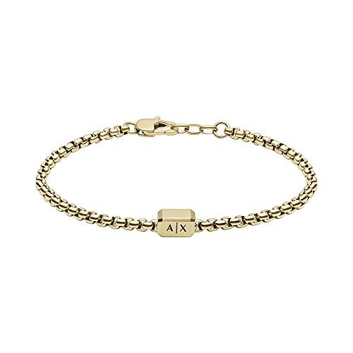 Armani Exchange Pulsera tipo cadena para hombre de acero inoxidable en tono dorado, AXG0073710
