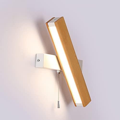 Apliques de Pared LED madera 360 ° giratoria lámpara de pared de dormitorio 12W regulable con interruptor de tiro, moderna lámpara de pared de lectura para sala de estar Mesilla estudio,Wood color