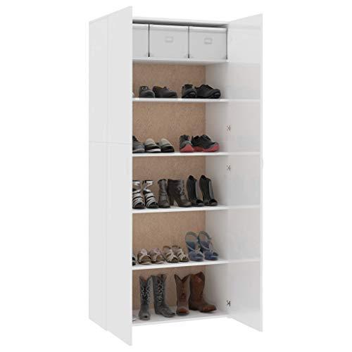 Qnotici Zapatero gabinete de Pasillo Zapatero Armario Zapatero cómoda Blanco de Alto Brillo 80 × 35,5 × 180 cm aglomerado