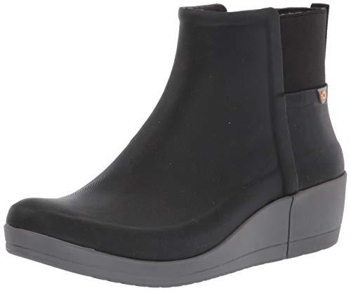 BOGS womens Vista Wedge Waterproof Ankle Height Rain Boot, Black, 7 US