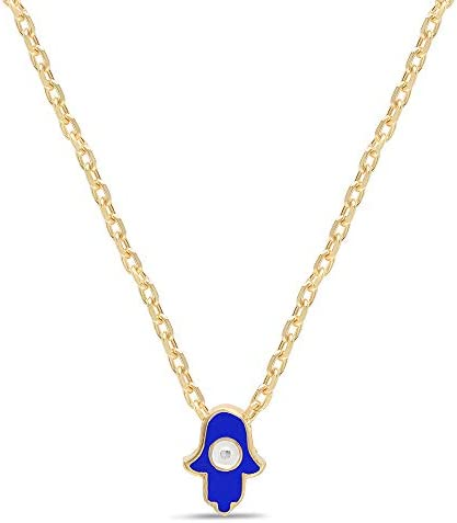 Blue Hamsa Hand Tiny Necklace Yellow Gold Choker Necklace for Girls and Women With Lucky Blue product image