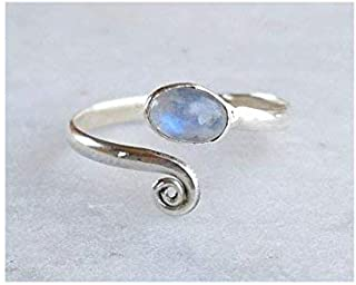 Rainbow Moonstone Stone Toe ring 925 Solid Sterling Silver Girl Women Body Jewellery Adjustable Toe Ring