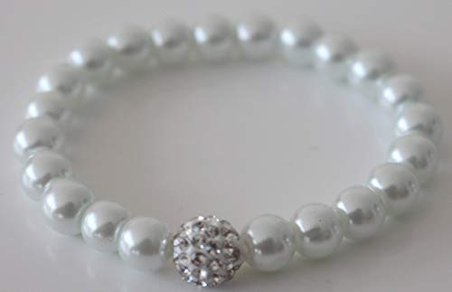 White pearl with Shamballa Bead Stretchable Bracelet for Girls/Women