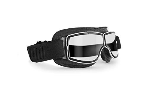 Bertoni Motorradbrille Schutzbrille für Harley Davidson Chopper und Scrambler aus schwarzem Leder und Chrom Rahmen - AF188B