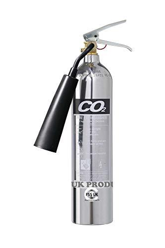 Extintores premium FSS UK de 2 kg de CO2 Cromo pulido. Con certificado CE. Ideal para el hogar, cocina, lugar de trabajo, oficinas, talleres, almacenes, garajes, hoteles, restaurantes