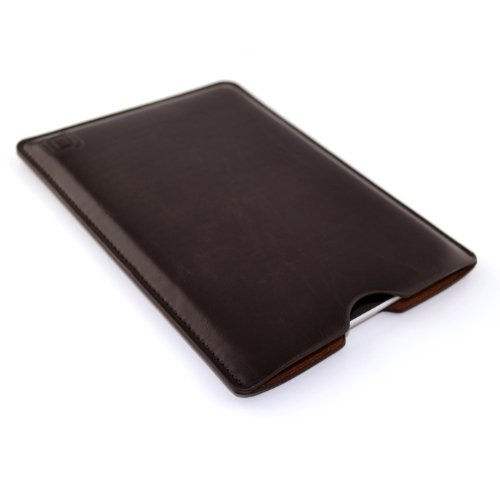 Synthetic Leather iPad Mini Sleeve for iPad Mini 4, 3, 2, & 1 and Acer Iconia A1-830 by Dockem: Slim, Simple, and Professional Executive Tablet Case - Soft Felt Lined Dark Brown Basic Synthetic Leather Protective Pouch Cover