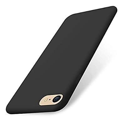 AOWIN iPhone 8 Case/iPhone 7 Case, Liquid Silicone Gel Rubber Phone Cover Soft Cases Compatible with iPhone 8 / iPhone 7 - Black