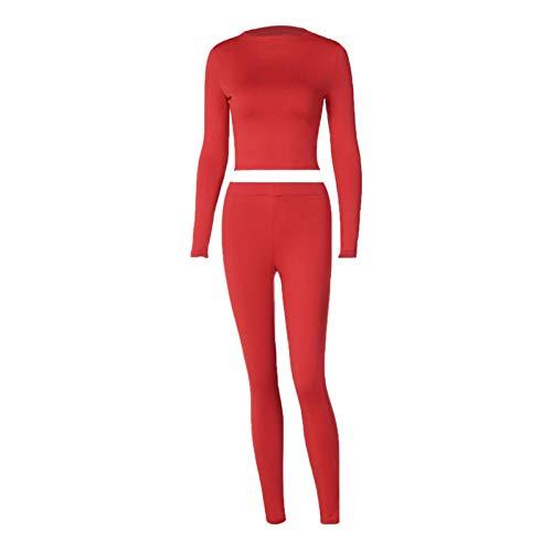 Carolilly Conjunto de 2 piezas de mujer casual de mujer ajustado, camiseta de manga larga con cuello alto + pantalones de chándal deportivo para yoga de color liso rojo XL