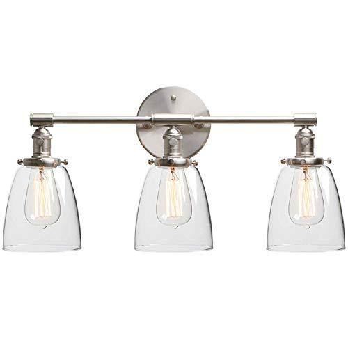 XHH Espejo de baño Lámpara de Pared Vintage con Interruptor, Tres Pantallas de Cristal Transparente, lámpara de Pared de baño Industrial para Interior 3 Luces E (Hermosa Resistente a la corrosión)