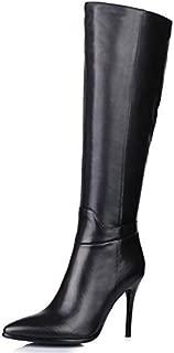 Genuine Leather Women's Pointed Toe Stiletto Heel Zip Handmade Knee High Boot (7.5, Black)