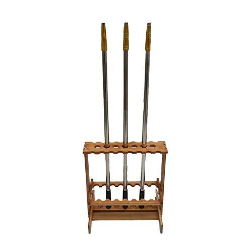 Portacanne da pesca 47 Asta Porta-canne espositore portaoggetti 23 zattere di bambù in Legno Porta canne da Pesca (Color : Wood Color, Size : 50 * 15 * 63cm)