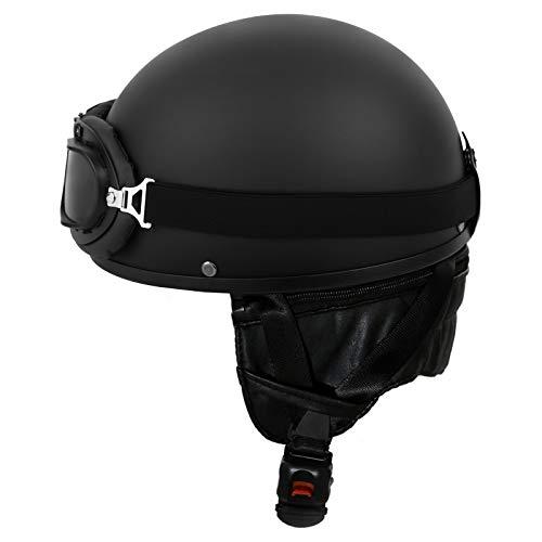 Samger Oldtimer Motorradhelm Erwachsener Helm mit Fliegerbrille (Schwarz, L)